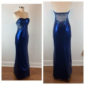 Jump Apparel Blue Sequin Dress with Illusion Panel